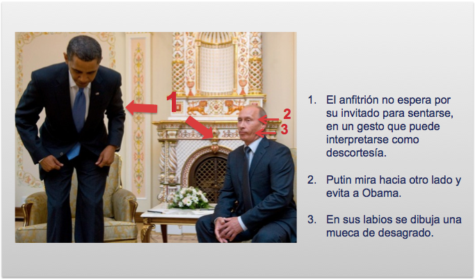 Obama se sienta en su primer encuentro con Putin, mientras este ya está sentado