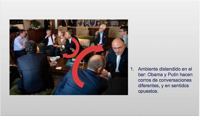 Los líderes reunidos en el bar durante el tercen encuentro de Obama y Putin