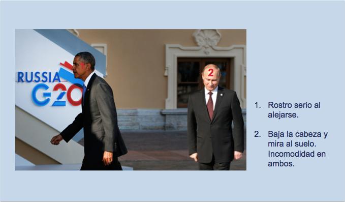 Seriedad en los rostros de Putin y Obama