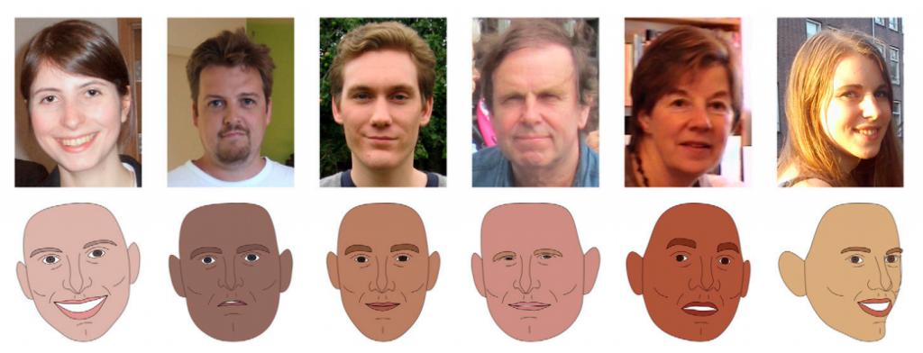 Ejemplo de cómo fueron modeladas las 1.000 caras objeto de estudio, convirtiéndolas en dibujos cuya fidelidad fue posteriormente contrastada