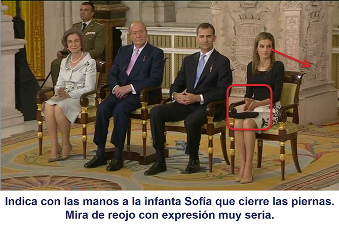 La reina Letizia indica con un gesto a su hija que cierre las piernas