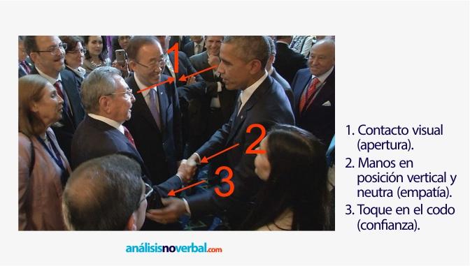 Apretón de manos entre Obama y Castro
