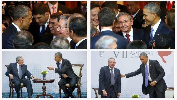Expresiones faciales y gestos en el encuentro de Obama y Castro