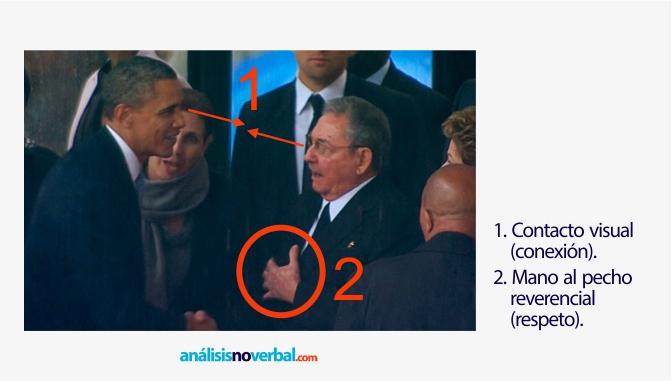 Obama y Castro establecen contacto visual