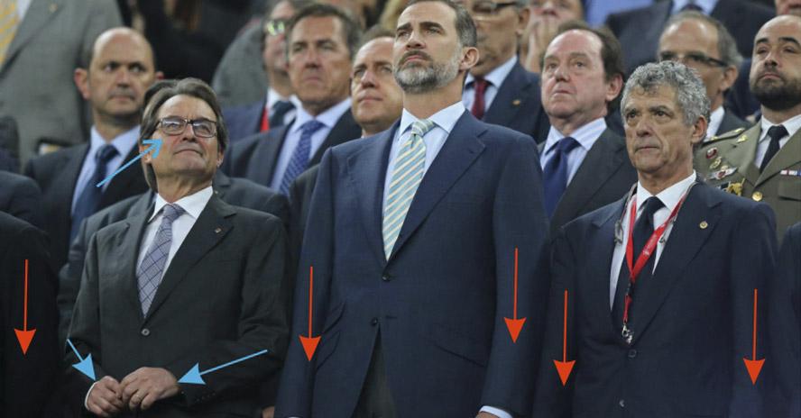 La gestualidad cómplice de Artur Mas en la Copa del Rey