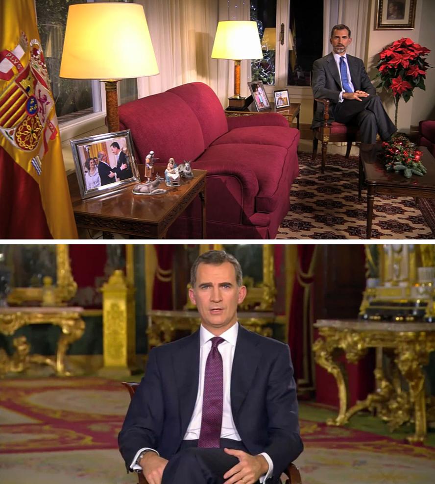 Los escenarios cambian en el discurso navideño de Felipe VI