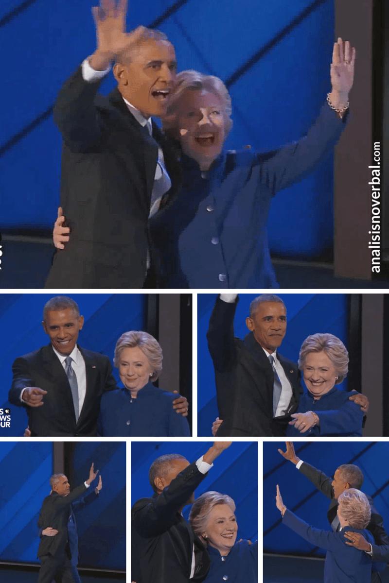 Hillary Clinton y Obama adquieren posiciones y ángulos idénticos