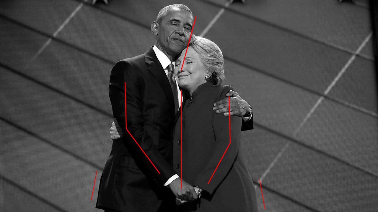 Hillary Clinton y Barak Obama: simetría postural