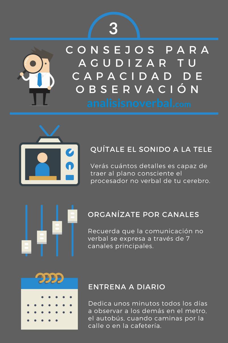 Infografía sobre comunicación no verbal: 3 consejos para agudizar tu capacidad de observación